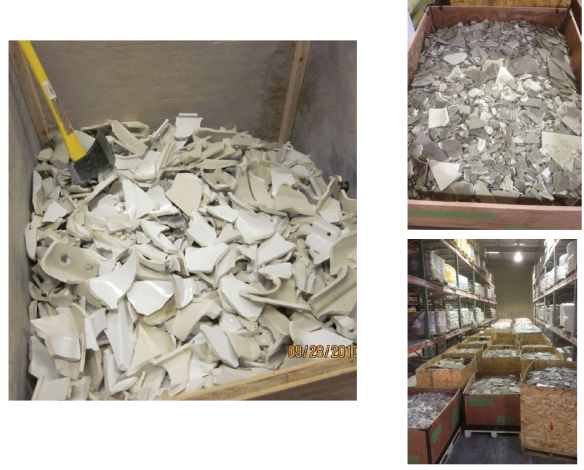 Porcelain Fixtures Ready for Recycling at Crossville's Plant