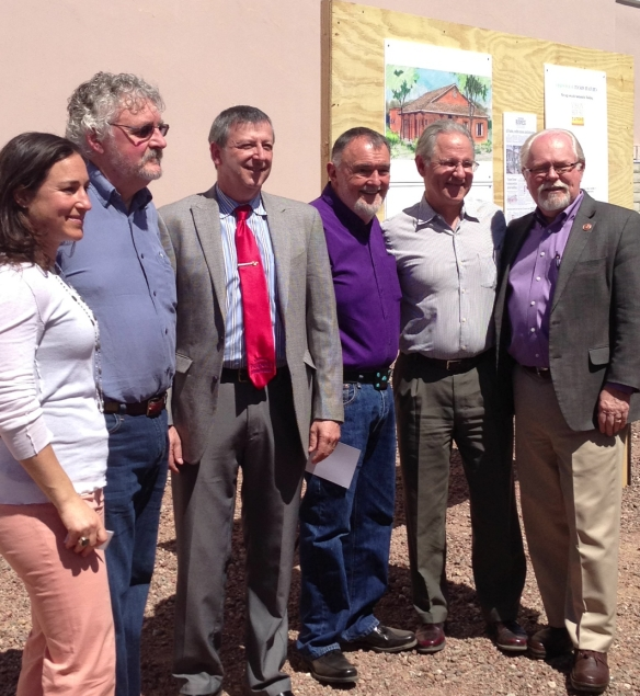 (left to right) Sara Gutterman, CEO, Green Builder Media; Ron Jones, President, Green Builder Media; Michael Katz, President, Armory Park del Sol HOA; John Wesley Miller, Builder; Mayor Jonathan Rothschild of Tucson; Congressman Ron Barber