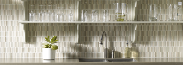 Crossville glass mosaics for kitchen backsplashes