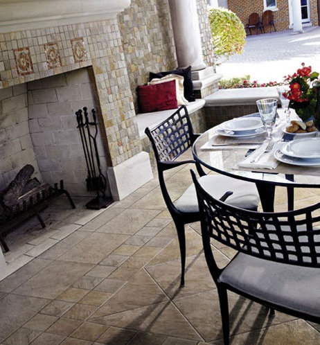 Crossville Tile Outdoor Kitchen Fireplace