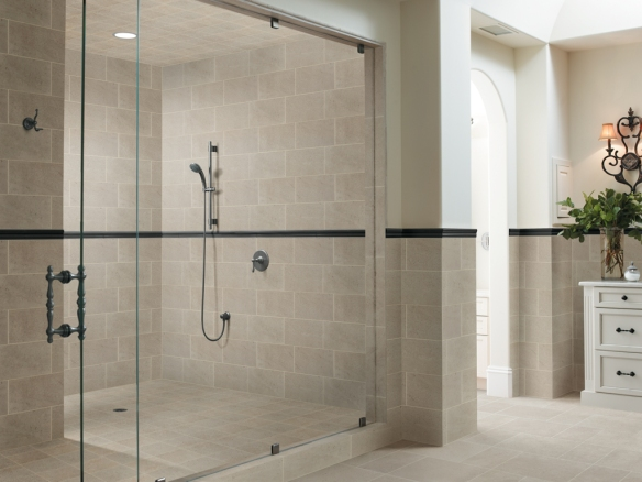 Crossville's Limestone Collection beautifully accents the neutral tones in this shower.