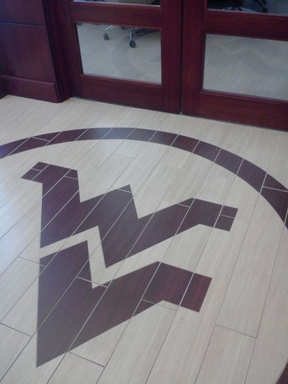 West Virginia University's logo captured beautifully in Crossville's Wood Impressions collection.