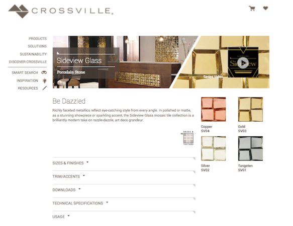 Crossville's Sideview Glass Product Page