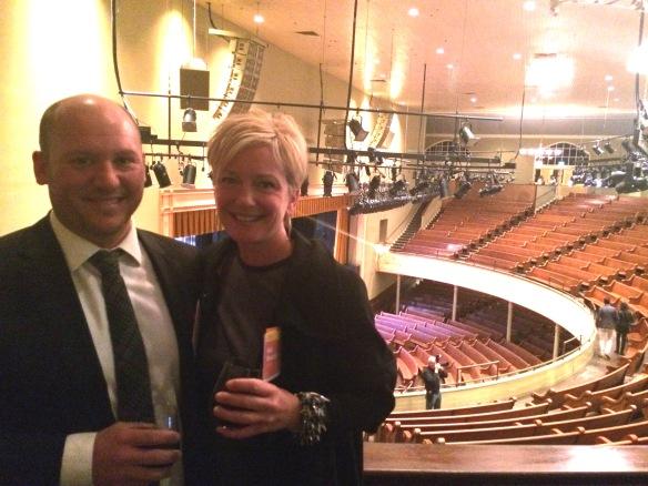 Crossville's Heidi Vassalotti, LEED® AP ID+C, with Patrick Thompson of Patrick Thompson Design (Detroit, MI) at Nashville's iconic Ryman Auditorium.