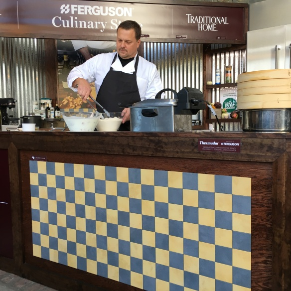Crossville tile graces the stage where Chef Blake fries up gluten-free chicken.